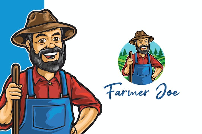 Thumbnail for Old Farmer Joe Logo Mascot Template