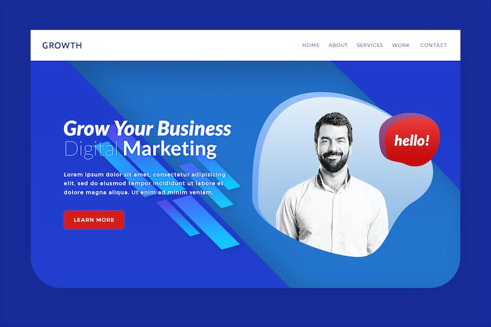 Growth - Business Hero Banner Web Page Template