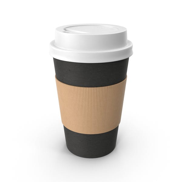 Black Paper Coffee Cup White Lid