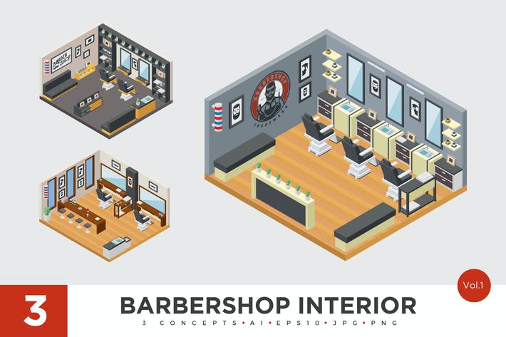 Thumbnail for 3 Isometric Barbershop Interior Vector Set 1