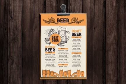 MenüVorlage für Alkohol Bar