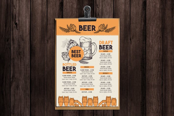 Thumbnail for Alcohol Bar Menu Template