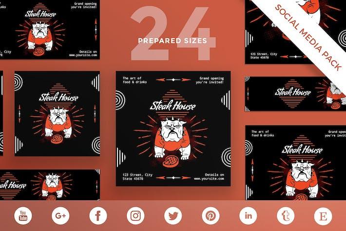 Thumbnail for Steak House Social Media Pack Template
