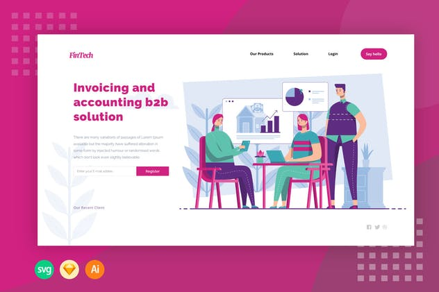 Invoicing and Accounting B2B Solution Illustration