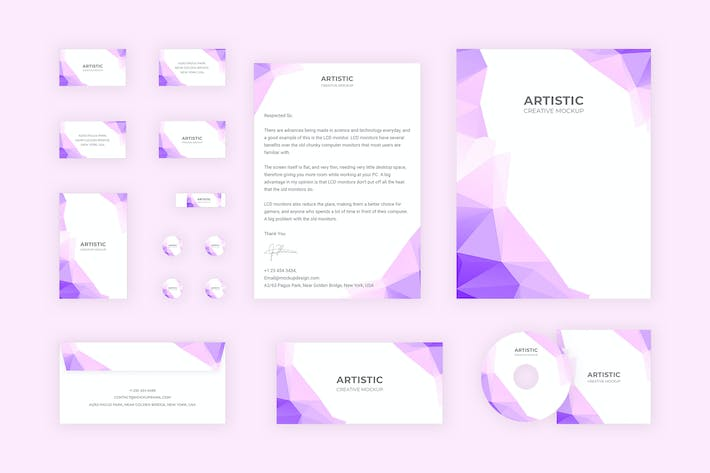 Thumbnail for Branding Identity - Polygon Purple for Adobe XD
