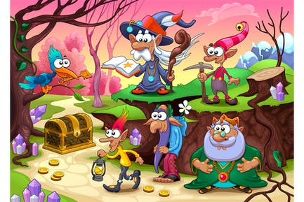 Un grupo de enanos está buscando el tesoro