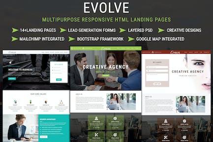 Pages de destination HTML réactives multifonctions EVOLVE