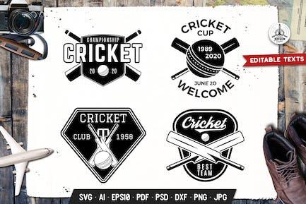 Cricket Logos Templates Set Vector Sport Badges