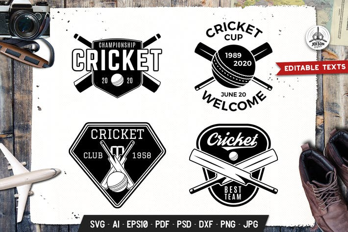 Thumbnail for Cricket Logos Vorlagen Set Vektor Sport Abzeichen