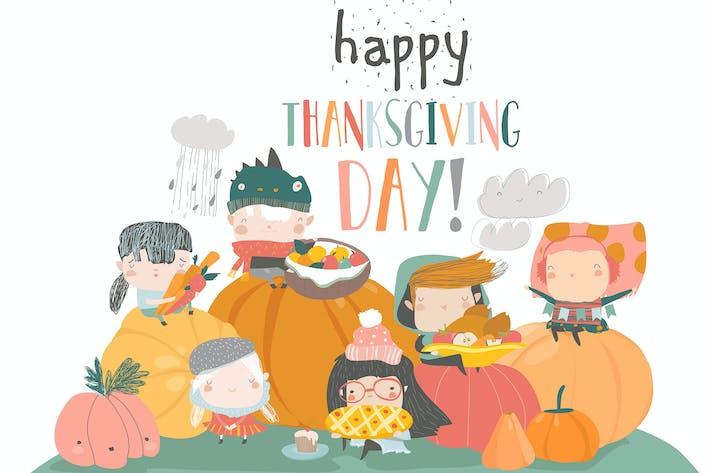 Thumbnail for Cartoon children harvesting. Happy Thanksgiving Da