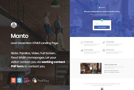 Manto - Lead Generation Landing Page