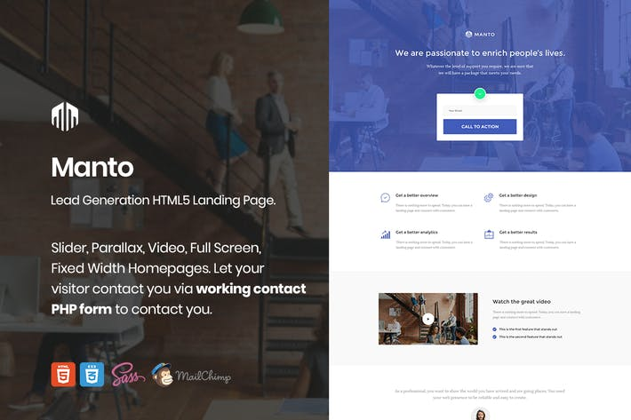 Thumbnail for Manto - Lead Generation Landing Page