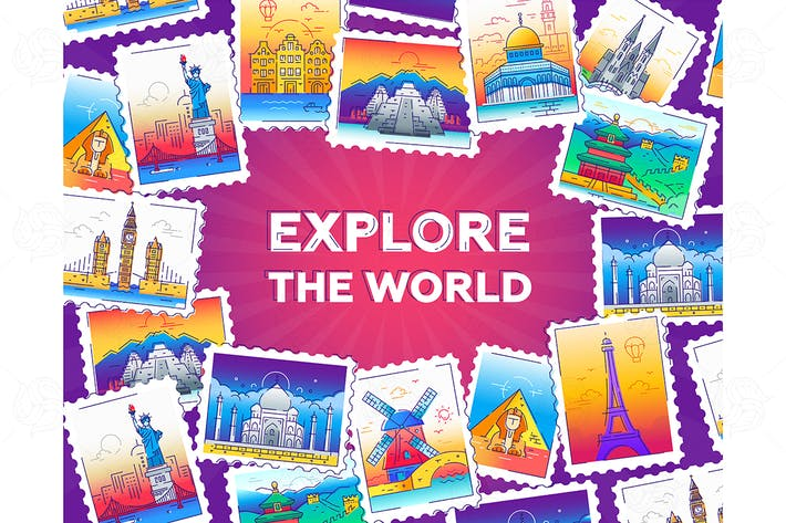 Thumbnail for Explore the world - vector line illustration