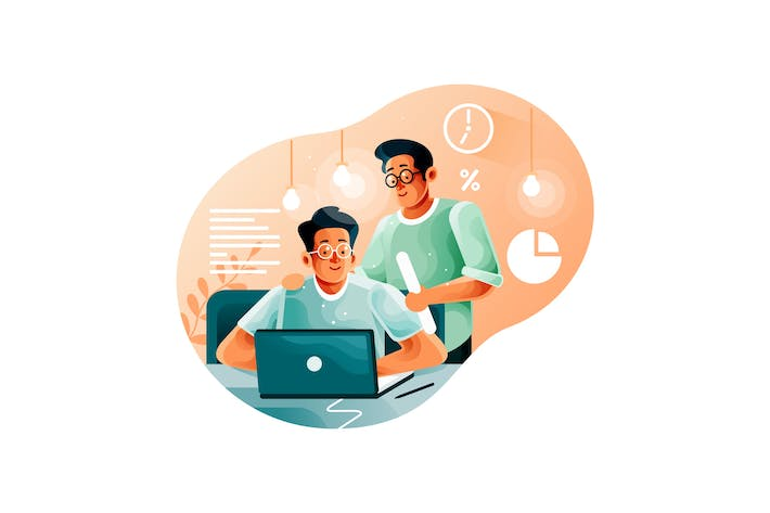 Thumbnail for Leader supervising office worker in startup