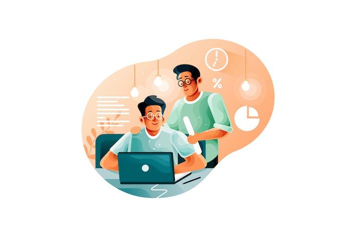 Thumbnail for Leiter beaufsichtigt Büroangestellte beim Start