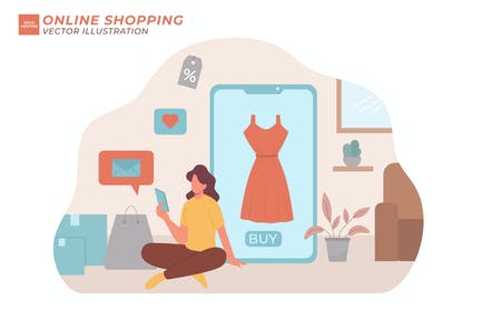 Online Shopping Flat Illustration