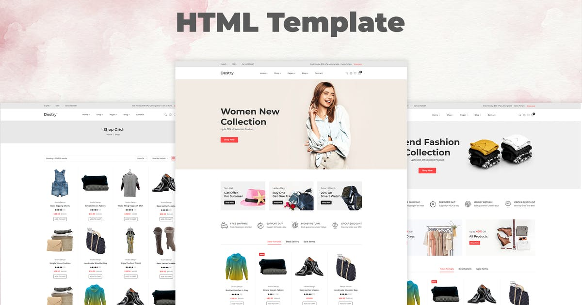 Download Destry - Fashion eCommerce HTML Template by codecarnival
