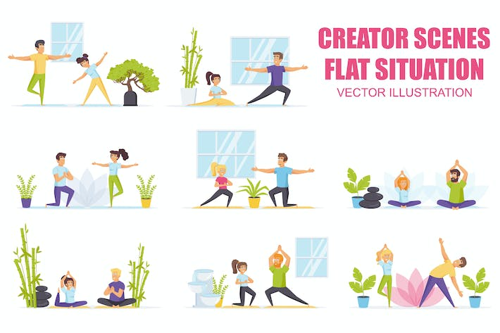 Thumbnail for Collection Family Yoga Flat Scene Situation