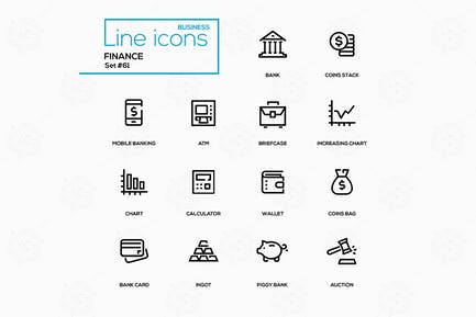 Business and finance - line design icons set