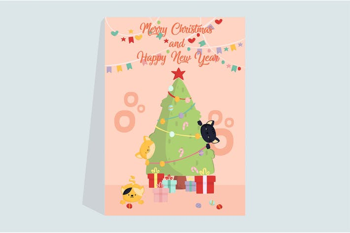Thumbnail for Plakat Katzen mit Weihnachtsbaum