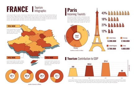 France Isometric Map - Tourism Infographic