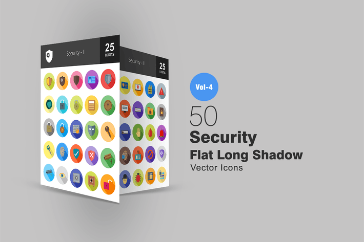 Thumbnail for 50 Security Flat Shadowed Icons