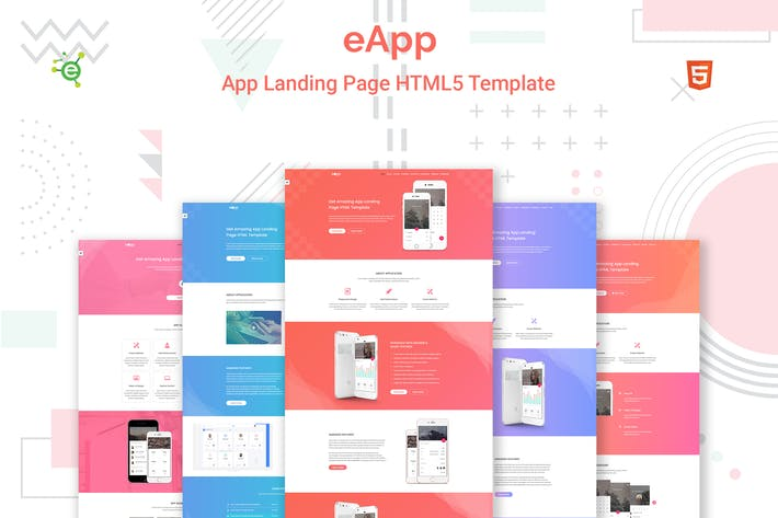 Thumbnail for eApp - 5 in 1 App Landing Page