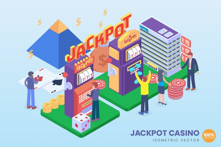Thumbnail for Isometric Jackpot Casino Vector Concept