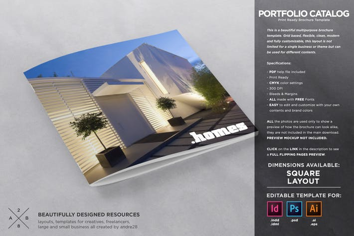 Thumbnail for Square Catalogue Portfolio Template