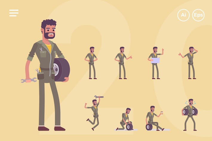 Thumbnail for Male Mechanic, Engineer Character Set (20 Poses)