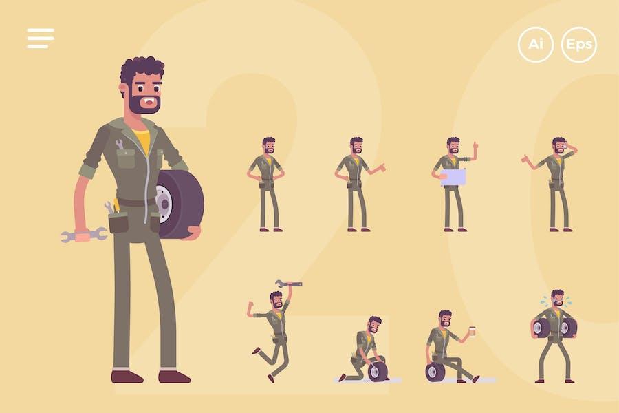 Male Mechanic, Engineer Character Set (20 Poses)