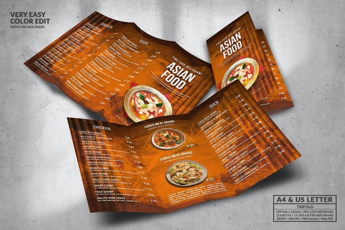 Cover Image For Asian Trifold Food Menu Design A4 & US Letter