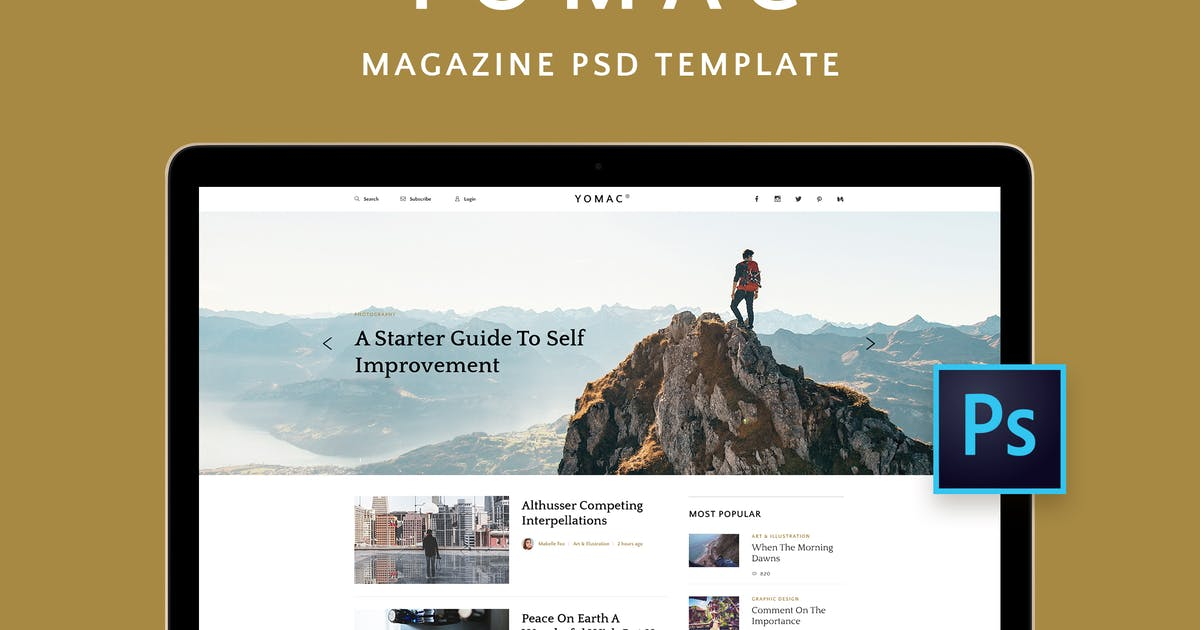Download Yomac — Magazine and Blog PSD Template by Middltone