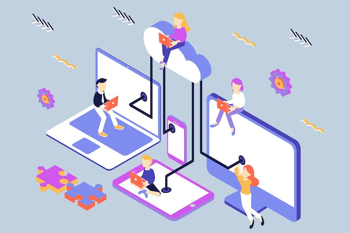 Thumbnail for Cloud Computing Isometric Illustration