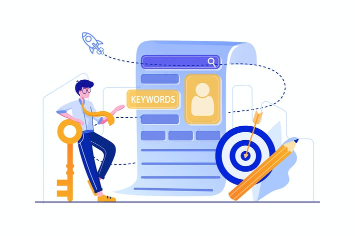 Thumbnail for Marketing director finding keywords illustration