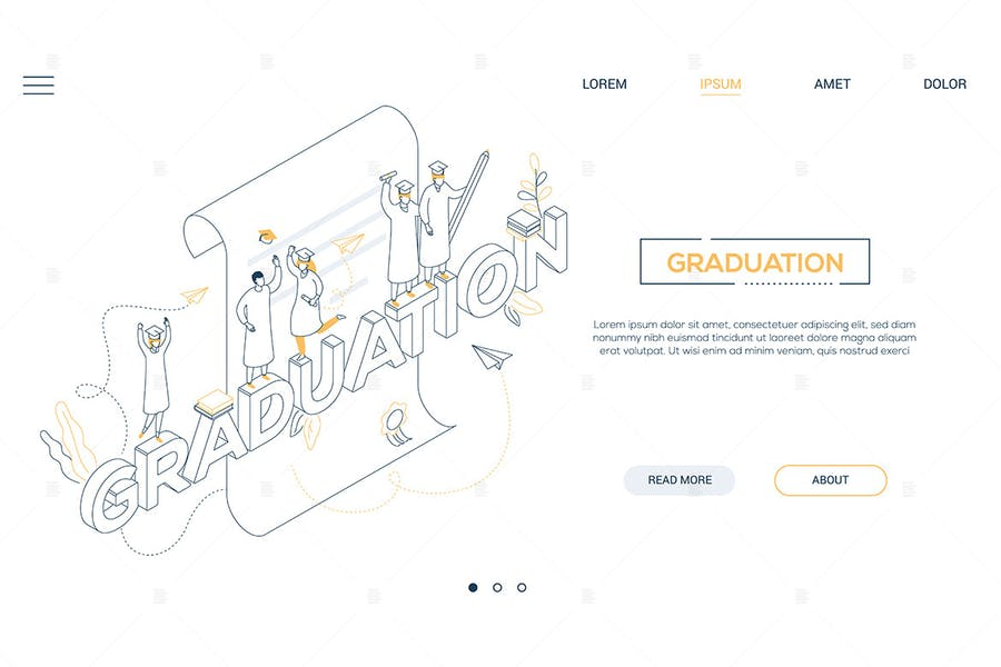 Graduation - line design style isometric banner