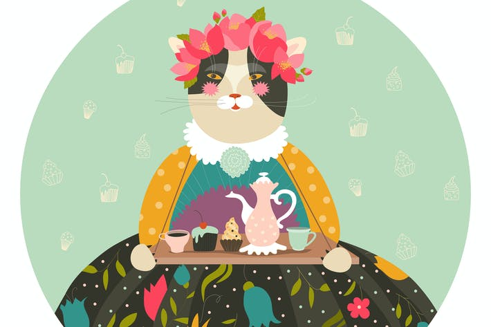 Thumbnail for Cute cat with teapot and cakes wearing dress