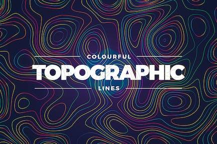 Topographischer Stil Bunte Linien Hintergrund