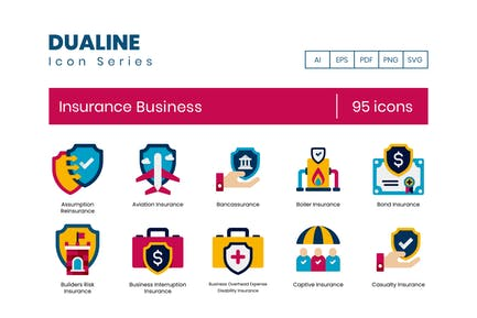 95 Insurance Business Flat Icons