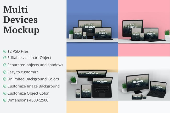 Thumbnail for Multi Devices Mockup 12 PSD Files