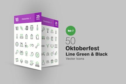 50 Oktoberfest Green & Black Line Icons