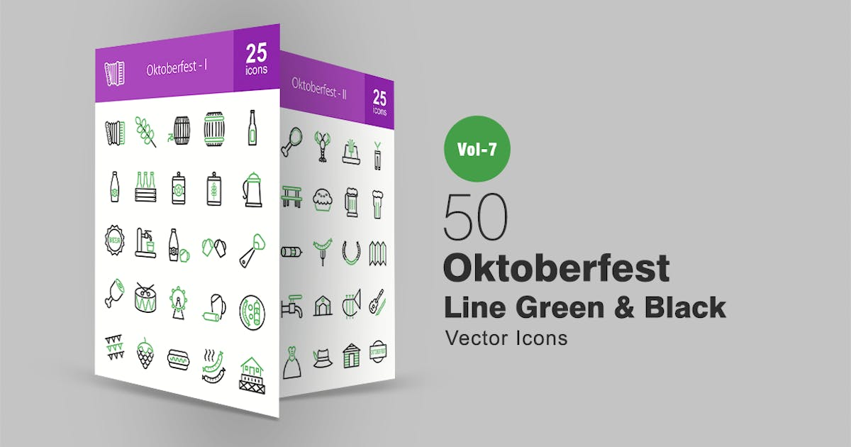 Download 50 Oktoberfest Green & Black Line Icons by IconBunny