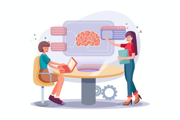 Thumbnail for Kollegen, die an intensivem Brainstorming teilnehmen.