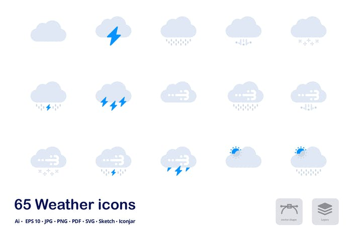 Thumbnail for Weather Forecast Accent Duo Tone Flat Icons