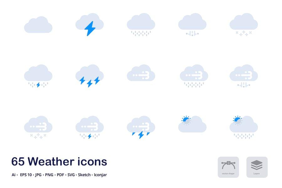 Wettervorhersage Akzent Duo Tone Flat Icons