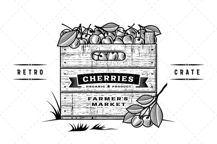 Thumbnail for Retro Crate Of Cherries Black And White