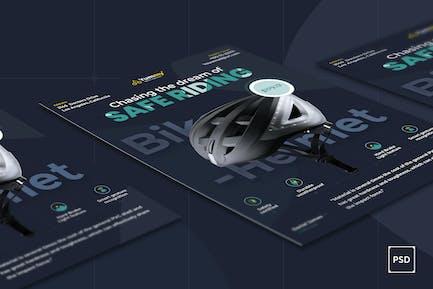 Bike Helmet Flyer PSD Template