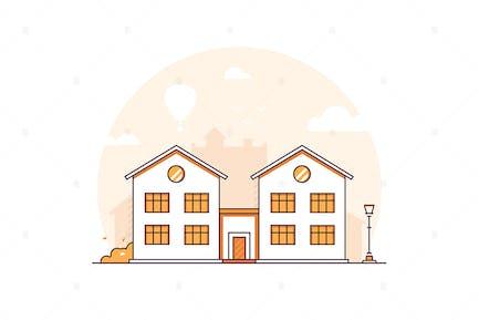 Apartment house - line design style illustration