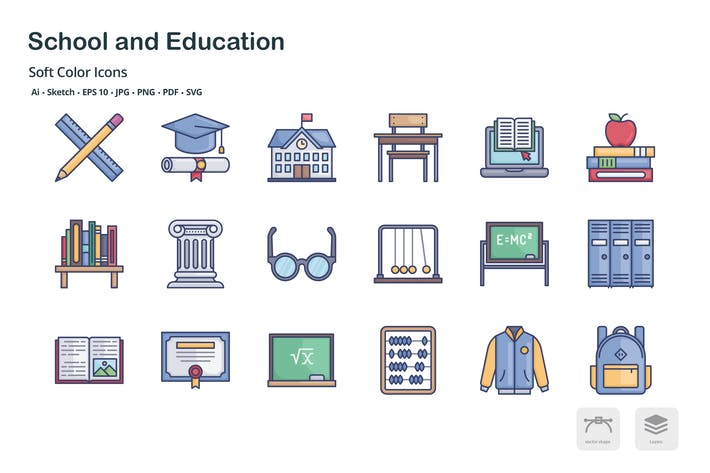 Thumbnail for School and education soft color icons