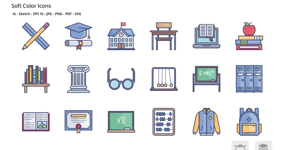 Download School and education soft color icons by roundicons